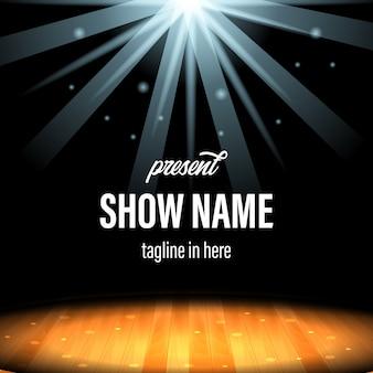 Specjalny występ na scenie w centrum uwagi z drewnianą podłogą i szablonem tytułu