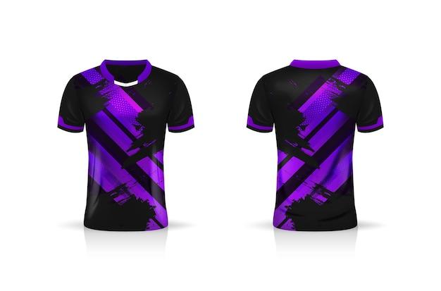 Specyfikacja makieta soccer sport, szablon koszulki esports gaming t shirt. makieta munduru. projekt ilustracji wektorowych
