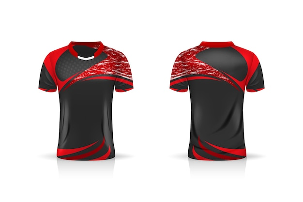 Specyfikacja soccer sport, szablon koszulki esport gaming t shirt. mundur .