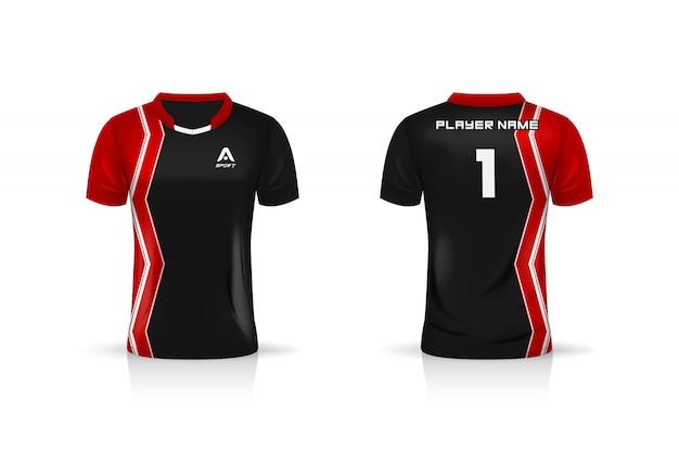Specyfikacja soccer sport, szablon koszulki esports gaming t shirt. mundur . projekt ilustracji