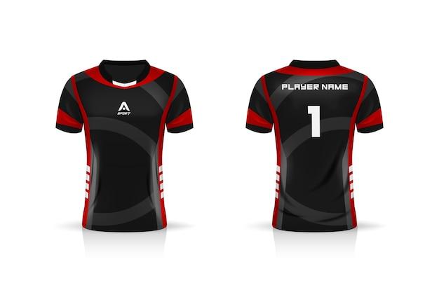 Specyfikacja soccer sport, szablon koszulki esports gaming t shirt.