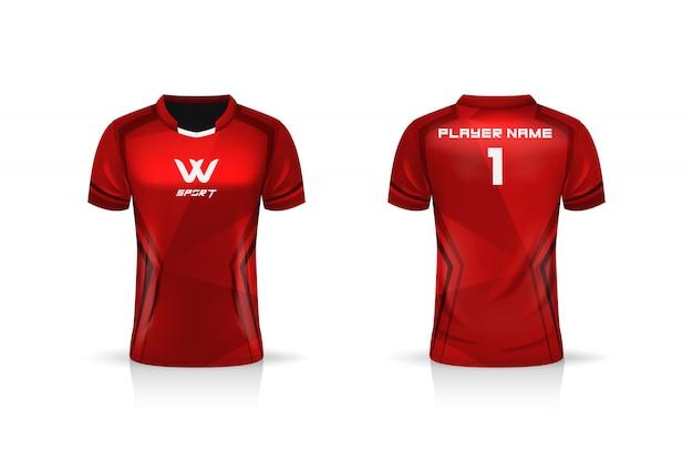 Specyfikacja soccer sport, szablon koszulki z krótkim rękawem esport gaming.