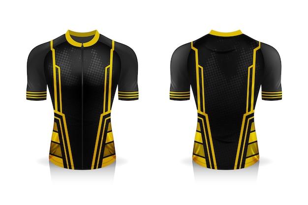 Specyfikacja szablonu koszulki kolarskiej. mock up koszulka sportowa z okrągłym dekoltem