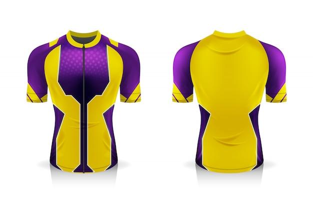 Specyfikacja szablonu koszulki kolarskiej. sportowa koszulka z okrągłym dekoltem do odzieży rowerowej. projekt ilustracji, oddzielne warstwy robocze.