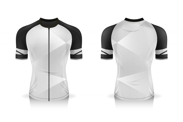 Specyfikacja szablonu koszulki rowerowej. makieta sportowa koszulka z okrągłym dekoltem na odzież rowerową.