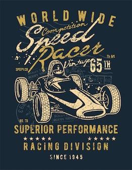 Speed racer vintage ilustracja projektu