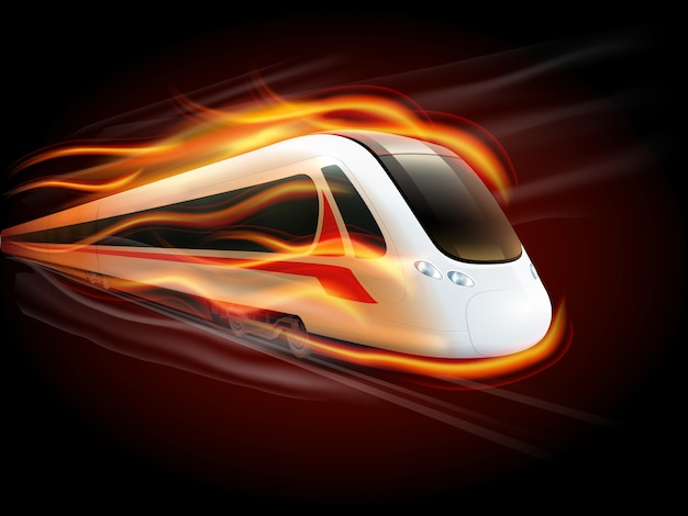 Speed train fire black background design