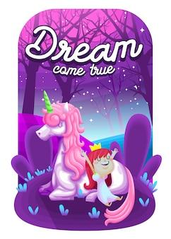 Spełnienie marzeń. piękny jednorożec z uroczą ilustracją książąt