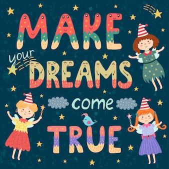 Spełnij swoje marzenia plakat, drukuj z uroczymi wróżkami