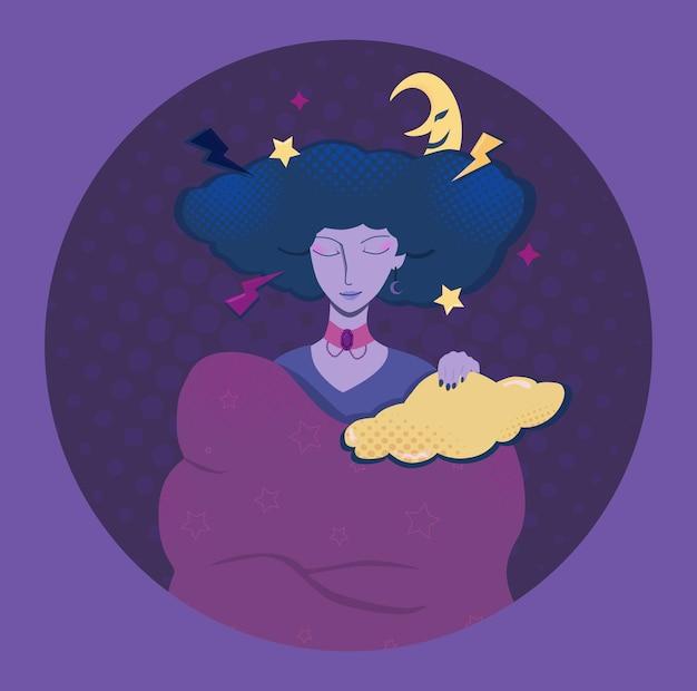 Śpiąca dziewczyna kreskówka chmury fioletowy wektor illuctration