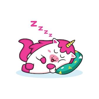 Śpiąca kreskówka jednorożca