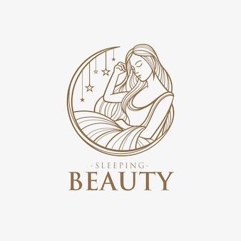 Śpiąca królewna kobieta logo szablon