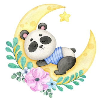 Śpiąca panda na księżycu i wieniec z kwiatów