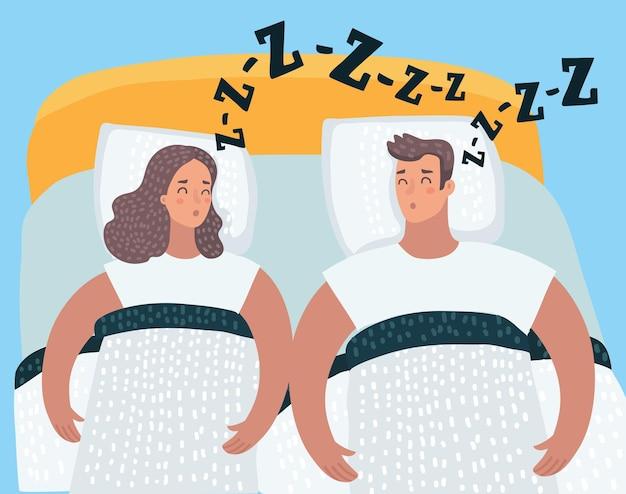 Śpiąca para w łóżku