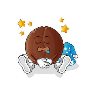 Śpiąca postać ziaren kawy. kreskówka maskotka