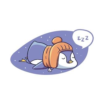 Śpiąca zimowa postać pingwina śpiąca naklejka ilustracja