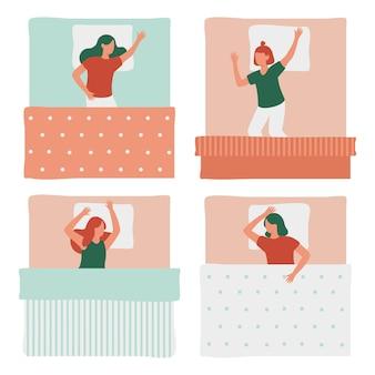 Śpiące kobiety w łóżku na białym tle zestaw