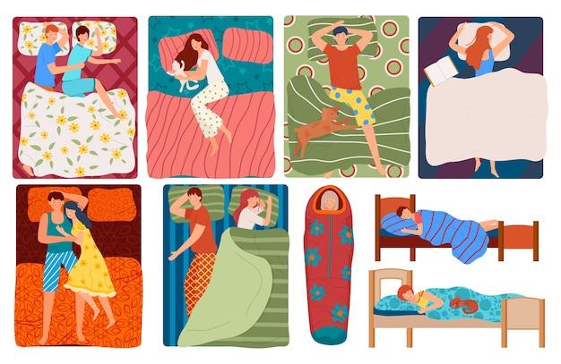 Śpiące osoby w łóżku zestaw ilustracji