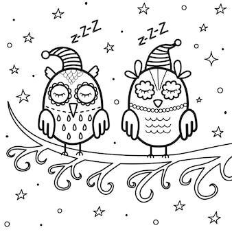 Śpiące sowy na gałęzi. dobranoc kolorowanka. ilustracja wektorowa słodkich snów