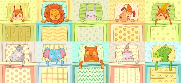 Śpiące zwierzęta. śliczny zwierzęcy sen w łóżku, śmieszny pies na poduszce i kot w szlafmycy kreskówki ilustraci wektorowym secie