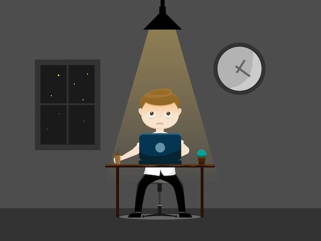 Śpiący biznesmen pracuje w nocy
