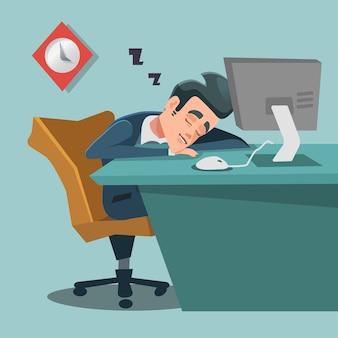 Śpiący biznesmen. zmęczony biznesmen w pracy.
