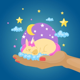 Śpiący kolorowy jednorożec, fantastyczny magiczny świat zwierząt, ręka dziecka, słodki sen, ilustracja. tęczowy kucyk, piękna bajkowa wróżka, mitologiczny pegaz.