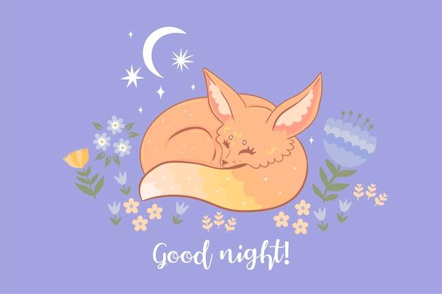 Śpiący lis. napis dobranoc.