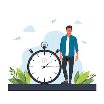 Śpieszący się człowiek i stoper. koncepcja zarządzania czasem, efektywne planowanie dla produktywnej pracy, stresujące zadanie, termin, odliczanie. nowoczesne mieszkanie kolorowe wektor ilustracja na plakat, baner.