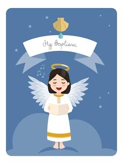 Śpiew anioła. przypomnienie o chrzcie na tle błękitnego nieba i gwiazd. płaska ilustracja