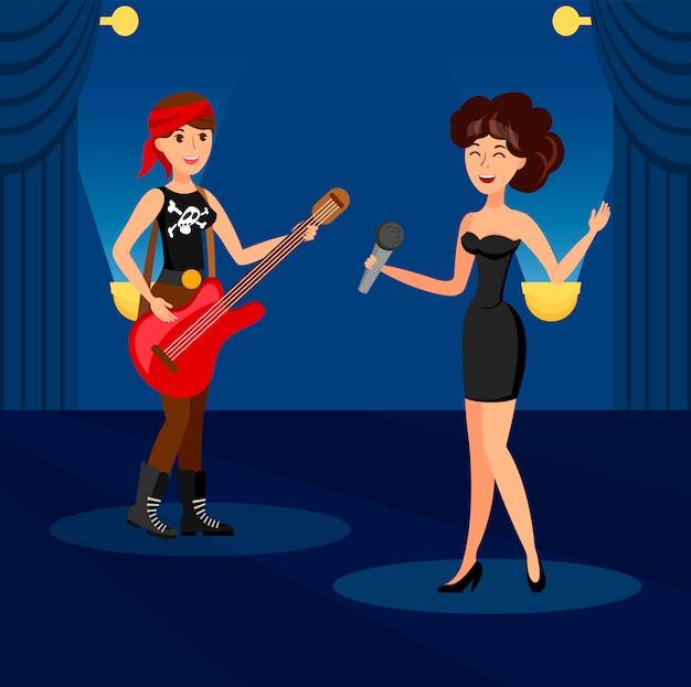 Śpiew w duecie w nocnym klubie ilustracji wektorowych