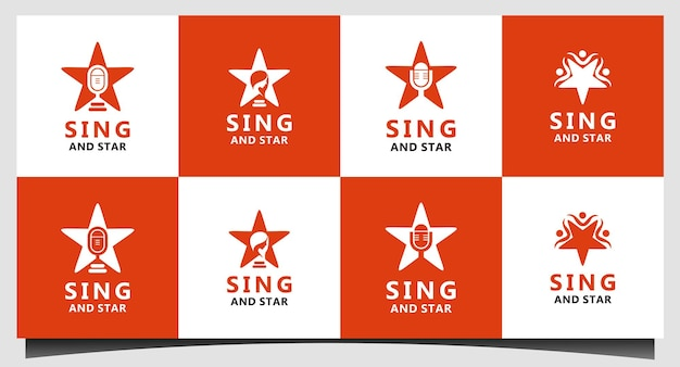 Śpiewaj i gwiazda projekt logo wektor