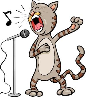 Śpiewająca kot ilustracja kreskówka