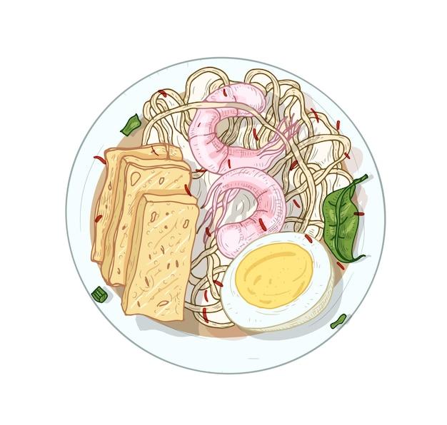 Śpiewał har, realistyczna ilustracja makaron ryżowy. pyszne danie dla smakoszy na białym tle