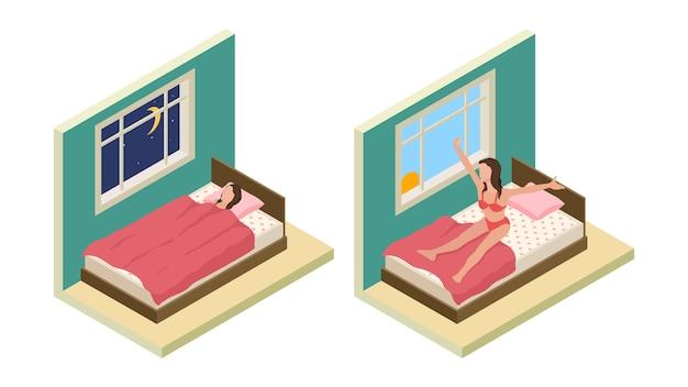 Śpij obudź się dziewczyno. izometryczna sypialnia. dziewczyna wektor spać na łóżku. dobranoc koncepcja dzień dobry