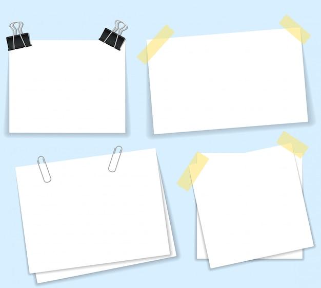 Spinacz z pustym białym papierem. biała kartka na twoją wiadomość lub dodanie więcej tekstu. ilustracja płaska konstrukcja. na białym tle szablon do notatki. miejsce na notebook.