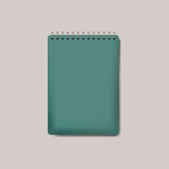 Spirala zielony notatnik makieta na białym tle