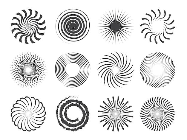Spiralna konstrukcja. koła wiruje i stylizowane wir abstrakcyjne kształty na białym tle