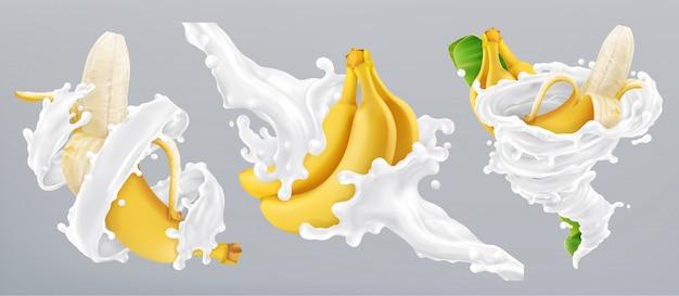 Splash bananów i mleka, jogurt. 3d realistyczna ikona