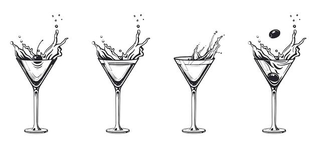 Splash koktajl kieliszek do grawerowania napój alkoholowy. ręcznie rysowane w stylu vintage czarno-białych ilustracji. szkic.