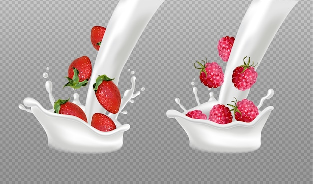 Splash mleka z owocami jagodowymi