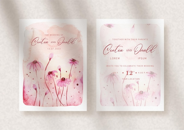 Splash różowe kwiaty na zaproszenie na ślub