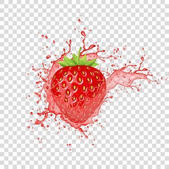 Splash soku truskawkowego. realistyczne świeże jagody. wektor.