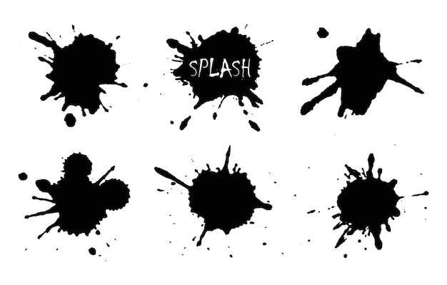 Splash streszczenie czarny kolor farby