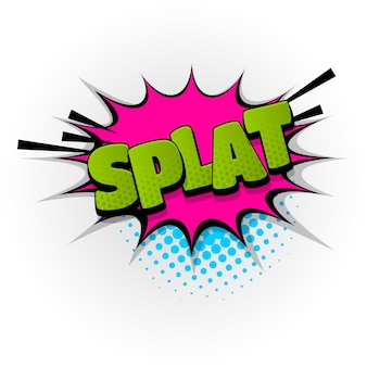 Splat splash dźwięk komiks efekty tekstowe szablon komiksy dymek półtonów styl pop-artu