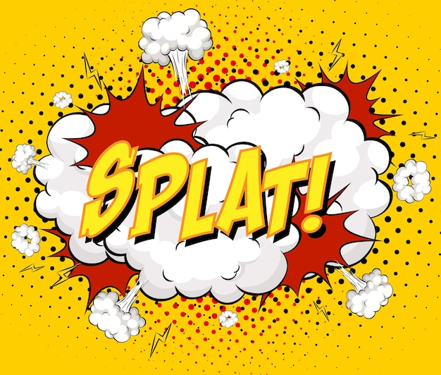 Splat tekst na wybuch chmury komiksu na żółtym tle