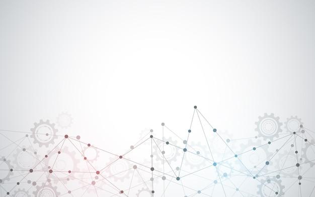 Splot streszczenie tło z łączenie kropek i linii. globalne połączenie sieciowe, technologia cyfrowa i koncepcja komunikacji.
