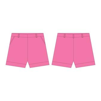 Spodenki w różowych kolorach dla dziewcząt na białym tle. szkic techniczny odzież sportowa dla dzieci.