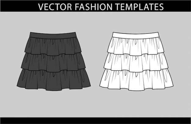 Spódnica moda płaski szablon szkicu, ruffled skirt design