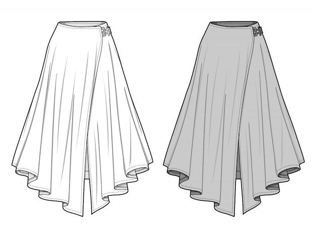 Spódnica moda płaski szablon szkicu